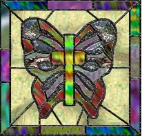 AmeriYank's stained glass butterfly cross tube